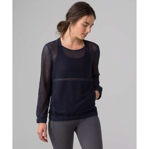 Lulu Mesh On Mesh Pop Over Midnight Navy Sweater